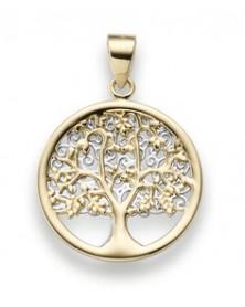 Amulett Lebensbaum 1,75 x 2,5 cm aus 585 Gelb- und Weißgold