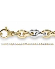 Phantasie-Armband 6,5 mm aus Gelbgold und Weißgold