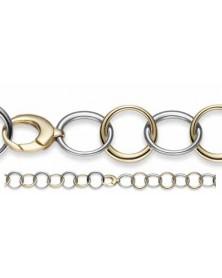 Ringel-Armband 20,5 mm aus 585 Gelbgold und Weißgold