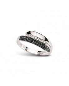 Ring aus Silber Zirkonia schwarz weiß