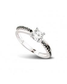 Ring aus 925er Silber Zirkonia schwarz weiß