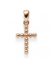 Kügelchen-Kreuzanhänger 0,95 x 1,95 cm aus 585 Roségold