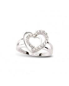 Herzring aus 925 Silber Zirkonia weiß