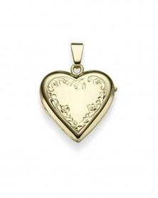 Herz-Medaillon mit Gravur aus 585 Gelbgold