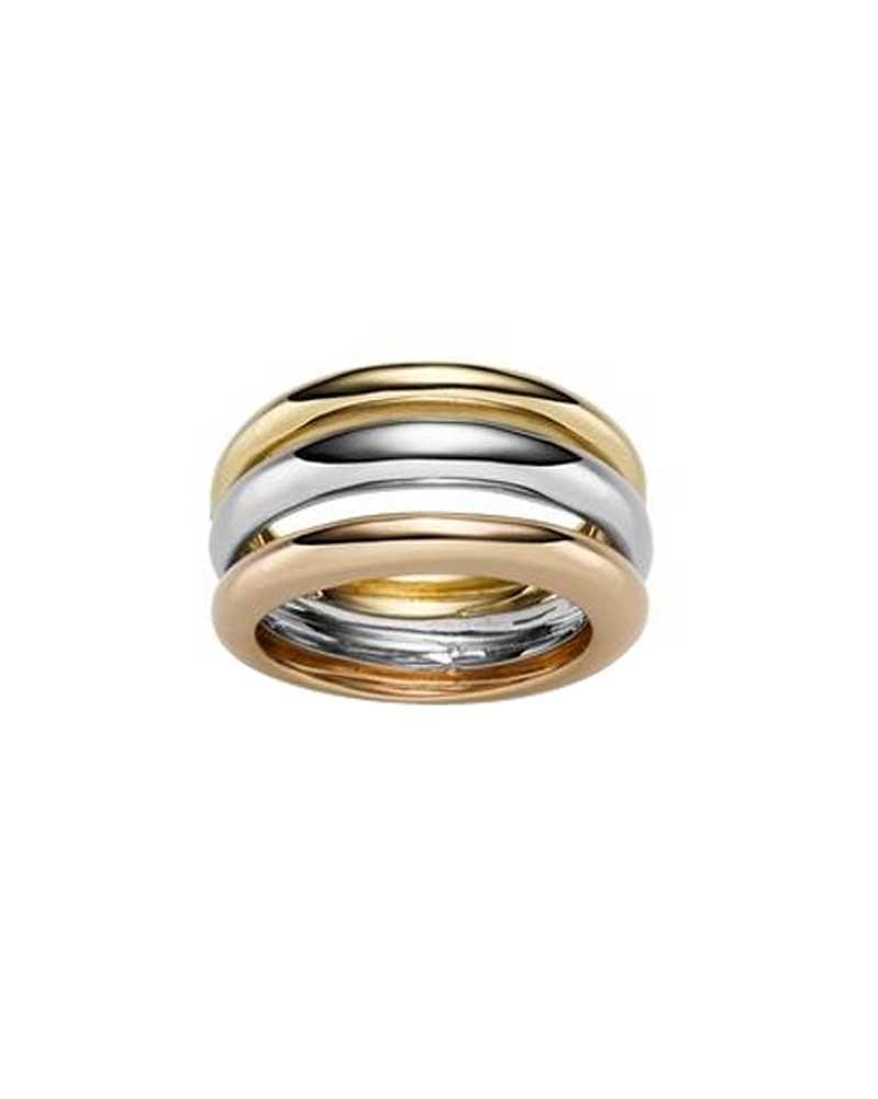 Tricolor-Ring 1,1 cm aus 585 Gelb-, Weiß- und Roségold