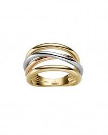 Tricolor-Ring 1,4 cm aus 585 Gelb-, Weiß- und Roségold