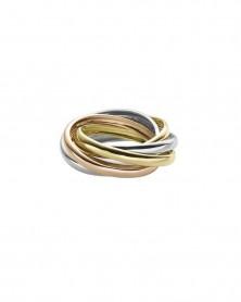 Tricolor-Ring 2,0 mm zusammen 6,0 mm aus 585 Gelb-, Weiß- und Roségold