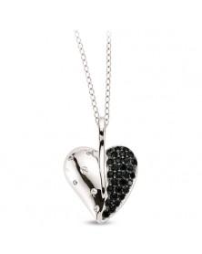 Herz 925er Anhänger und Kette aus Silber Zirkonia schwarz weiß