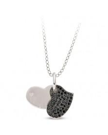 Herz Anhänger und Kette aus Silber Zirkonia schwarz