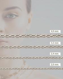 Königskette 925 Silber rhodiniert mit Breitenangaben