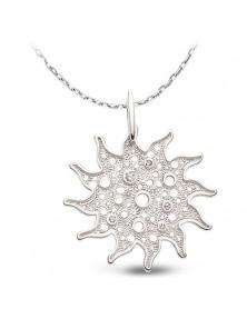 Großer 925er Sonnenanhänger und Kette aus Silber Zirkonia weiß