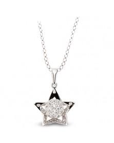 Sternahänger 925 und Kette aus Silber Zirkonia weiß