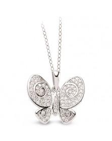 Schmetterling Anhänger und Kette aus Silber 925 Zirkonia weiß
