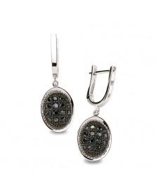 Ohrhänger aus 925er Silber Zirkonia schwarz