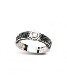 Ring aus 925 Silber Zirkonia schwarz weiß