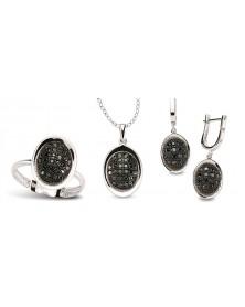 Schmuckset aus 925 Silber Zirkonia schwarz