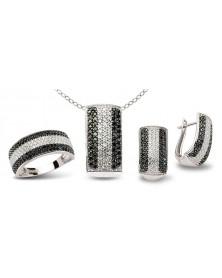 Schmuckset aus 925 Silber Zirkonia schwarz weiß