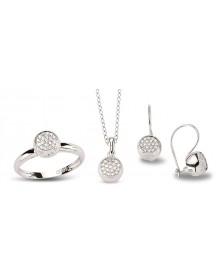 Schmuckset aus Silber mit weißen Zirkoniasteinen